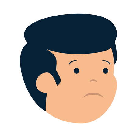 young sad man head character vector illustration design Çizim