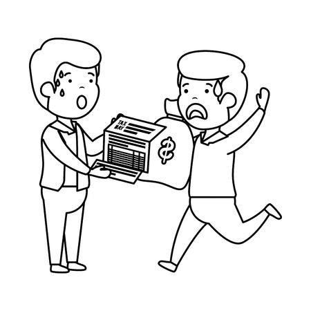 depressed men for money with tax document and bag vector illustration design Stok Fotoğraf - 118459642