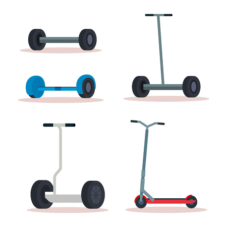 set electric scooter vehicle to urban transportation vector illustration