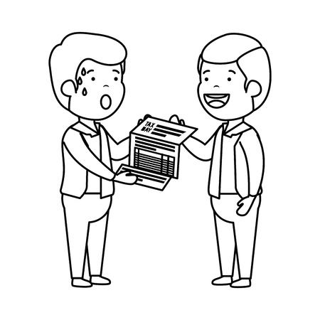 depressed men for money with tax document vector illustration design
