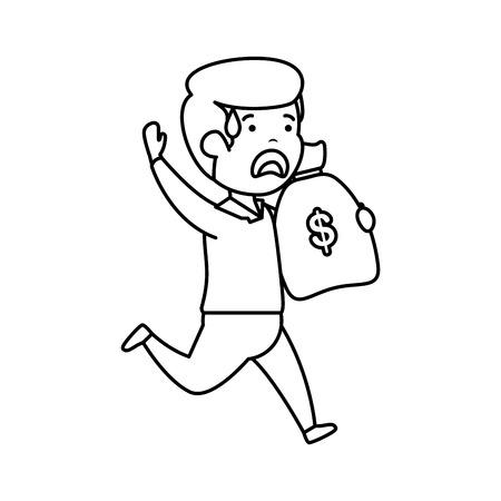 depressed man for money witth money bag vector illustration design 写真素材 - 124667581