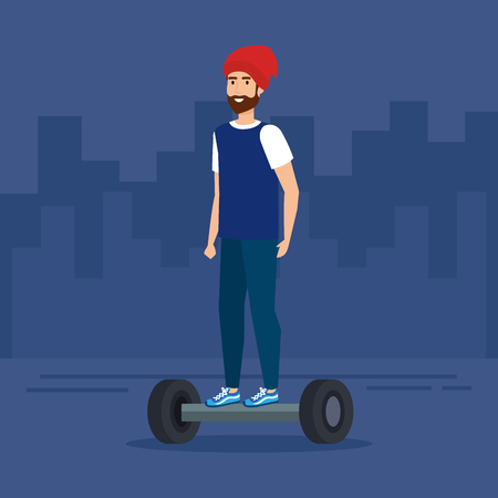 man with beard riding electric scooter vector illustration Ilustracja