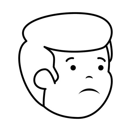 young sad man head character vector illustration design Ilustrace