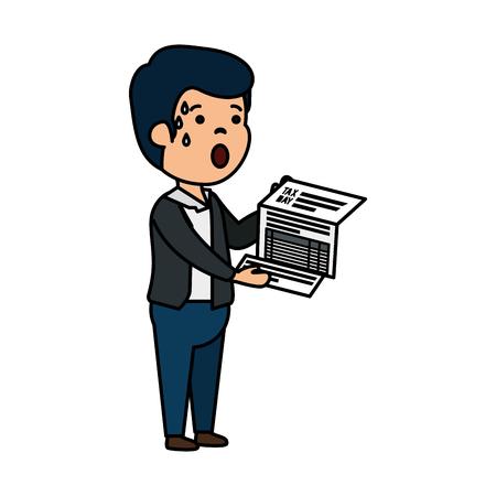 depressed man for money with tax document vector illustration design Illustration