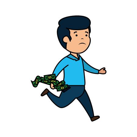 depressed man for money with bills dollars vector illustration design 일러스트