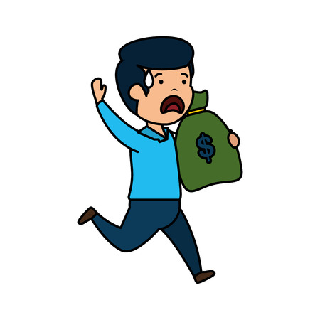 depressed man for money witth money bag vector illustration design Çizim