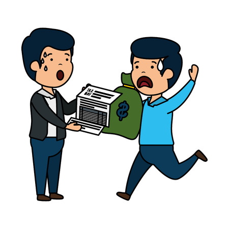 depressed men for money with tax document and bag vector illustration design