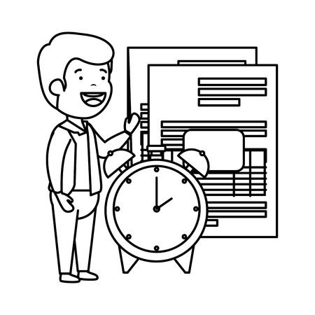 depressed man for money with taxes and alarm clock vector illustration design  イラスト・ベクター素材