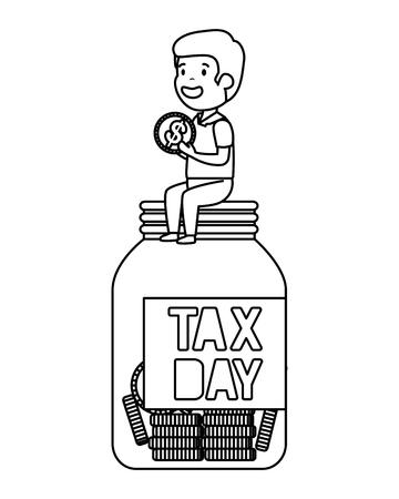 depressed man for money with tax jar vector illustration design 写真素材 - 124667605