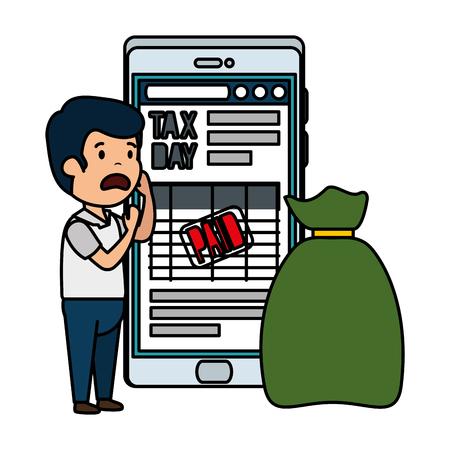 depressed man for money with smartphone vector illustration design