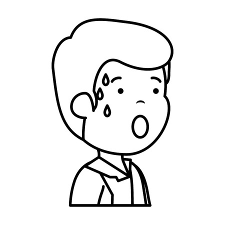 young sad man sweating character vector illustration design Standard-Bild - 118459650