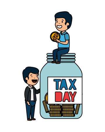 depressed men for money with jar tax vector illustration design  イラスト・ベクター素材