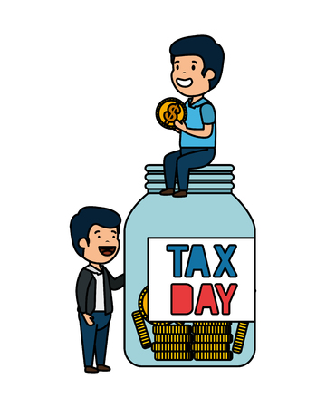 depressed men for money with jar tax vector illustration design Illustration