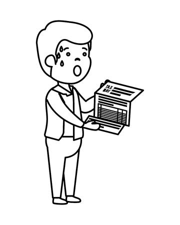 depressed man for money with tax document vector illustration design 일러스트