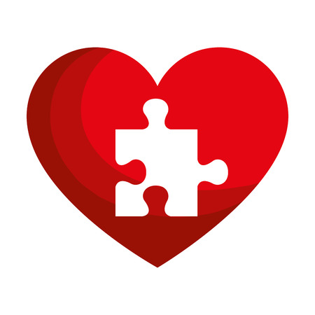 heart with puzzle pieces vector illustration design 스톡 콘텐츠 - 124667644