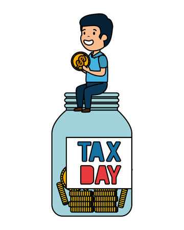 depressed man for money with tax jar vector illustration design