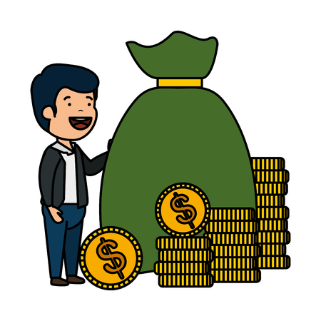 depressed man for money witth money bag vector illustration design Illusztráció