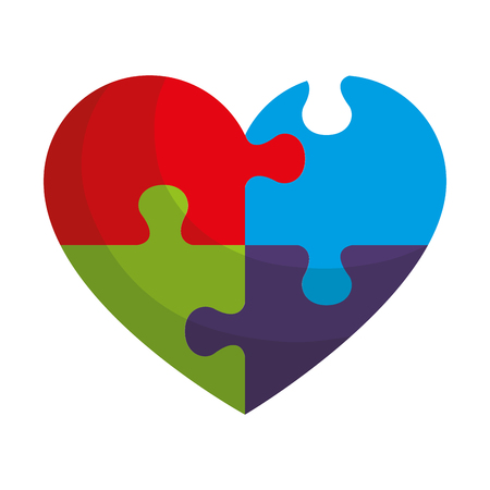 heart with puzzle pieces vector illustration design Banque d'images - 124667647