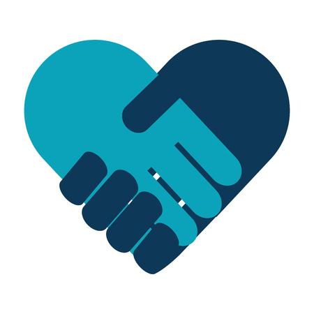 handshake in heart icon vector illustration design