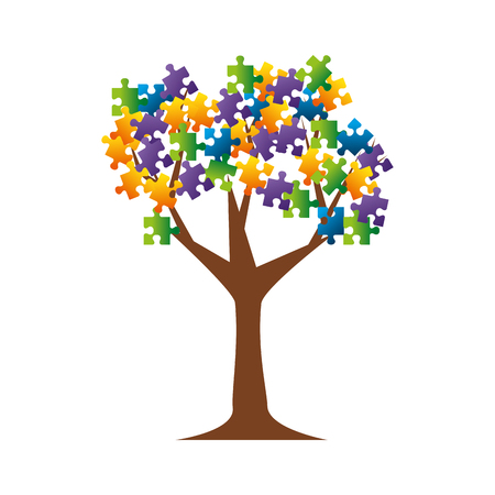 tree plant with puzzle attached vector illustration design Иллюстрация