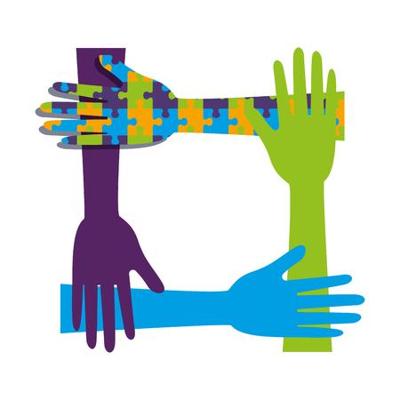 hands teamwork with puzzle solution vector illustration design Illustration