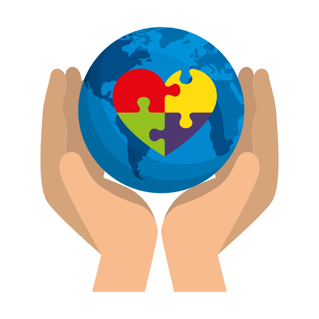 hands lifting world planet with heart puzzle vector illustration design Stockfoto - 124667656