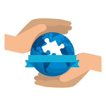 hands protection planet with puzzle solution vector illustration design