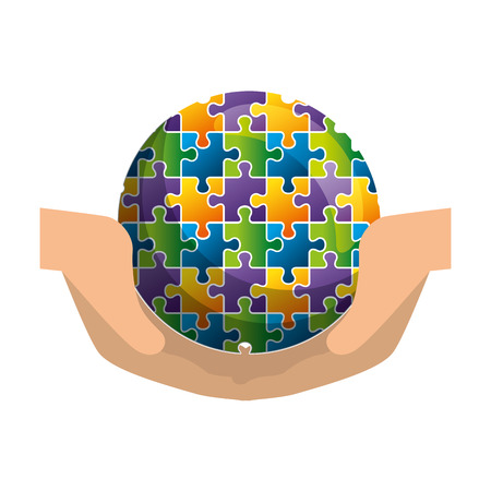 hands protection sphere planet with puzzle attached vector illustration design Banque d'images - 118437955