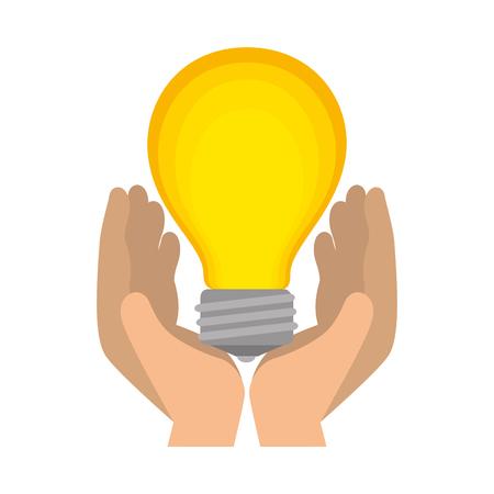 hands lifting bulb light vector illustration design