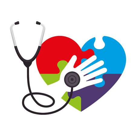 heart with puzzle attached and stethoscope vector illustration design Иллюстрация
