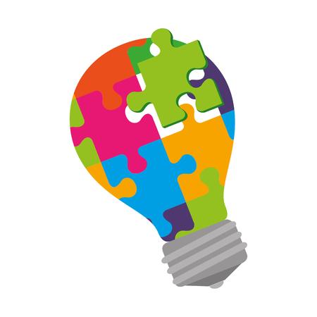 bulb with puzzle attached solution vector illustration design Foto de archivo - 118438102