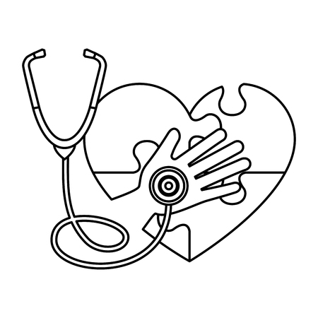 heart with puzzle attached and stethoscope vector illustration design Stock Illustratie