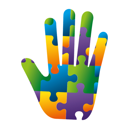 hand with puzzle attached solution vector illustration design