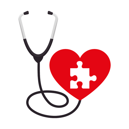 heart with puzzle attached and stethoscope vector illustration design Illustration
