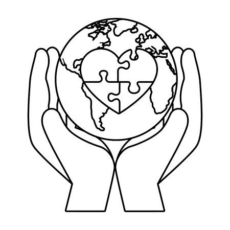 hands lifting world planet with heart puzzle vector illustration design