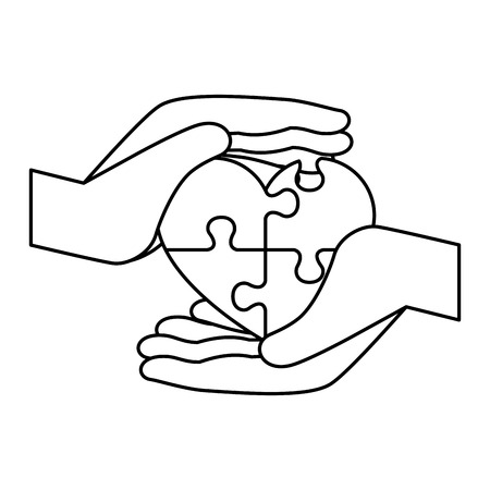 hands lifting heart with puzzle attached solution vector illustration design Stockfoto - 124667696