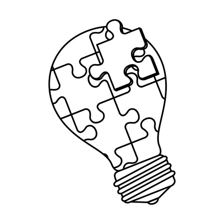 bulb with puzzle attached solution vector illustration design