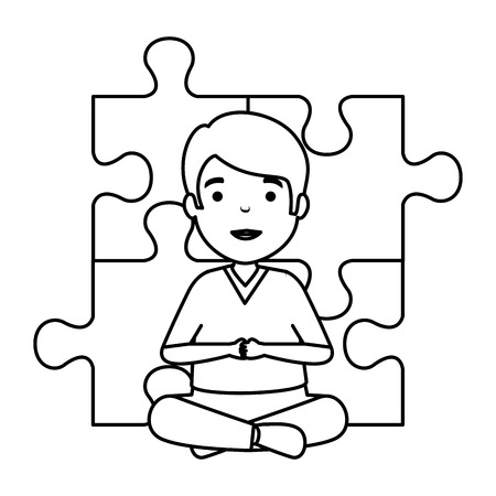 young boy with puzzle attached vector illustration design Banque d'images - 124667700