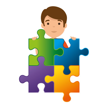 young boy with puzzle attached vector illustration design