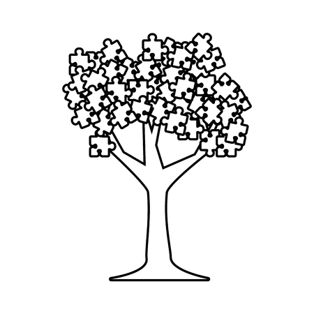 tree plant with puzzle attached vector illustration design Stock Illustratie