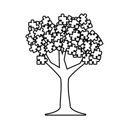 pianta dell'albero con disegno di illustrazione vettoriale allegato puzzle