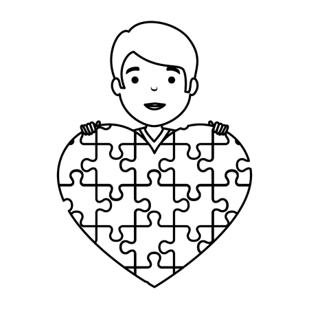 young boy with heart puzzle attached vector illustration design Иллюстрация