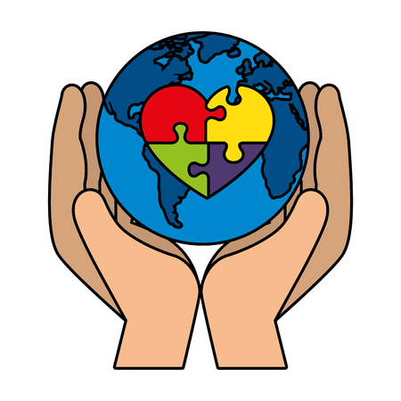 hands lifting world planet with heart puzzle vector illustration design Banque d'images - 118438546