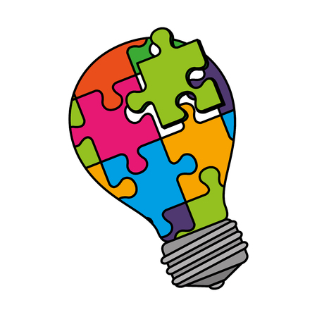 bulb with puzzle attached solution vector illustration design Stockfoto - 124667730