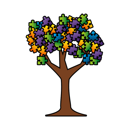tree plant with puzzle attached vector illustration design Foto de archivo - 118459679