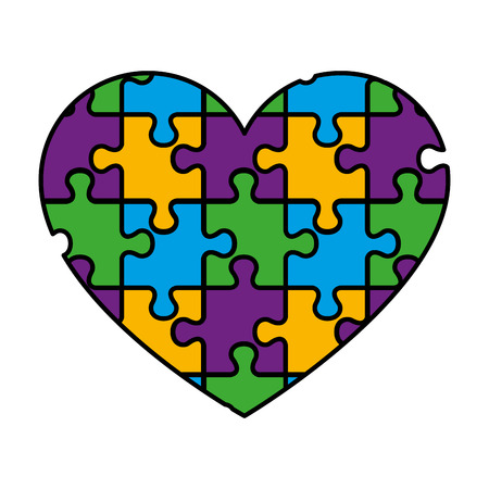 heart with puzzle pieces vector illustration design