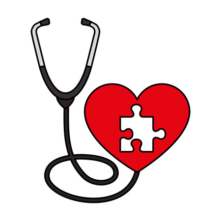 heart with puzzle piece and stethoscope vector illustration design Stock Illustratie