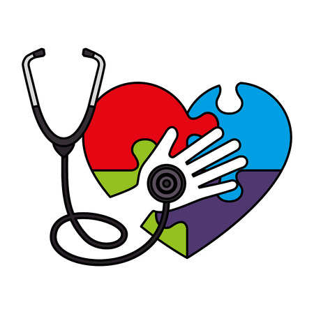 heart with puzzle attached and stethoscope vector illustration design Banque d'images - 124667739