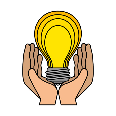 hands lifting bulb light vector illustration design