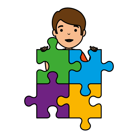 young boy with puzzle attached vector illustration design Stockfoto - 124667748